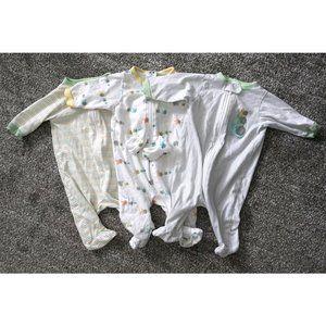 Set of 3 Gerber Zip Up Onesie Footed Pajamas